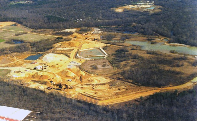 An aerial view of the Mardis mine site, in the final stage of reclamation.