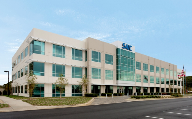 Pictured is the SAIC tilt-up concrete building located in Lexington Park, MD.