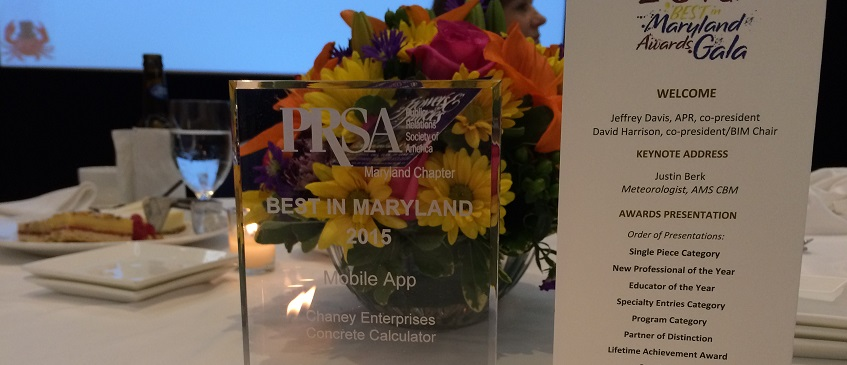 Concrete & Aggregate Calculator Named Top Mobile App with PRSA 'Best in Maryland' Award