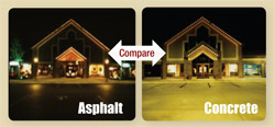 Compare lighting needs of asphalt and concrete